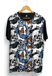 Camiseta Bsc Butterfly And Skull Full Print - Masculino