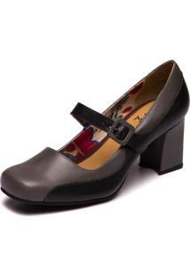 Sapato Mzq Bico Quadrado Cinza Preto 5959