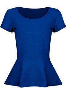 Blusa Outletdri Peplum Em Bandagem Azul