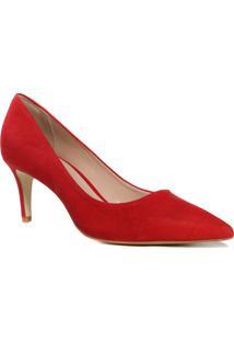 Sapato Scarpin Feminino Salto Fino Zariff Bico Folha Vermelho