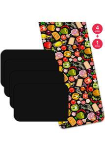 Jogo Americano Love Decor Com Caminho De Mesa Premium Pizza Kit Com 4 Pçs 1 Trilho