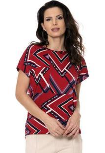 Blusa Bisô Decote Etnico Feminino - Feminino-Vermelho