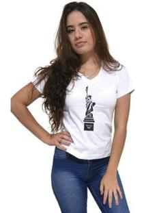 Camiseta Gola V Cellos New York Premium Feminina - Feminino-Branco