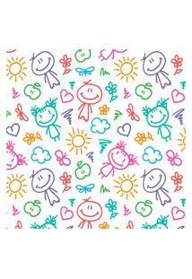 Papel De Parede Infantil Colorido Infância Desenhos 57X270Cm