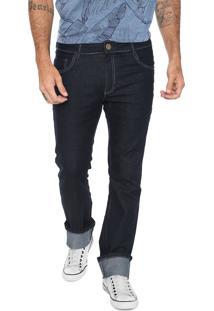 Calça Jeans Fiveblu Reta Bolsos Azul Marinho