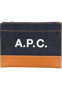 A.P.C. Logo Denim Zipped Clutch - Azul
