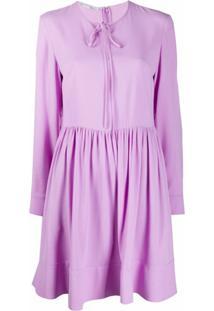 Stella Mccartney Vestido Reto De Seda Com Amarração Na Gola - Roxo