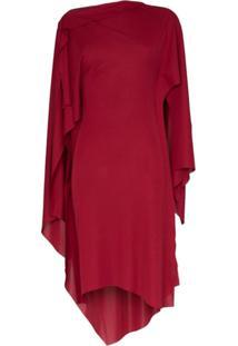 Mugler Asymmetric Long Sleeved Draped Dress - Vermelho
