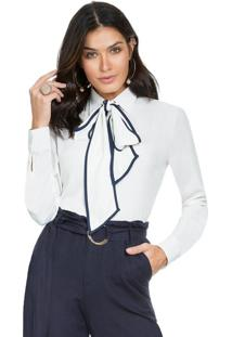 Camisa Social Com Gola Laço Principessa Margarete Off White