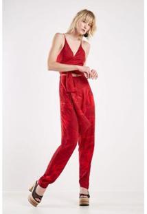 Macacão Est Floral Croqui Red Sacada - Feminino-Vermelho