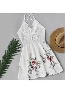 f77f93649 Style.Me. Vestido Verão 2015 Estampado Frente Única Branco Renda Floral  Casual ...