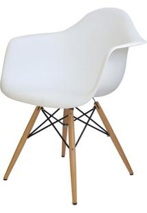 Cadeira Eames Com Braco Base Madeira Branco Fosco - 15206 - Sun House