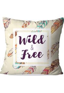 Capa De Almofada Avulsa Decorativa Wild And Free 35X35Cm