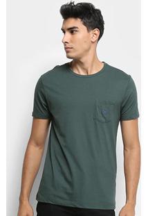 Camiseta Calvin Klein C/Bolso Masculina - Masculino-Verde Escuro
