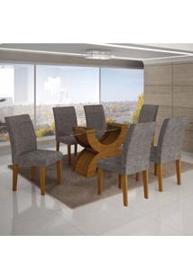 Conjunto Sala De Jantar Mesa Tampo Vidro 180Cm E 6 Cadeiras Olímpia New Leifer Imbuia Mel/Linho