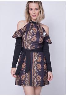 86ebaf6290 Zattini. Vestido Evasê Estampado Lança Perfume - Feminino-Preto