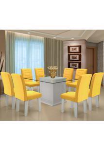 Conjunto De Mesa Para Sala De Jantar C/ Tampo De Vidro E 8 Cadeiras Vegas - Dobuê - Branco / Canário