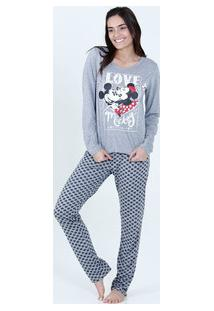Pijama Feminino Mickey Manga Longa Disney