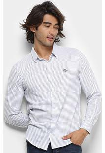 Camisa Polo Rg 518 Listrada Manga Longa Masculina - Masculino-Branco