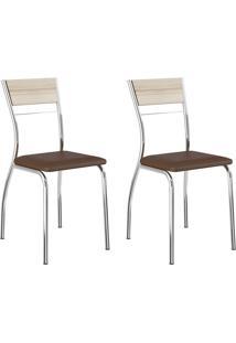 Kit 2 Cadeiras 1721 Cacau/Cromado - Carraro Móveis