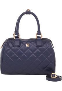 Bolsa Baú Couro Matelassê Marinho Smartbag - Feminino-Azul