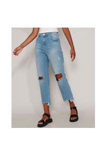 Calça Jeans Feminina Sawary Reta Cropped Cintura Alta Destroyed Azul Claro