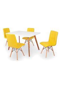 Conjunto Mesa De Jantar Gih 120X80Cm Branca Com 4 Cadeiras Gomos - Amarelo