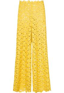 Rosie Assoulin Calça Cintura Alta Com Renda - Amarelo
