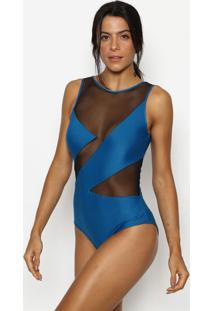 Body Vitreo Com Tule & Tira- Azul & Preto- Patrapatra