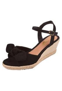 Sandália Anabela Uzze Sapatos Com Laço Preta