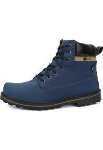 Bota Coturno Casual Cr Shoes Cano Médio Azul