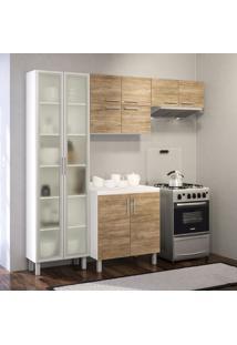 Cozinha Compacta Floripa 10 Pt Branca E Carvalho Claro