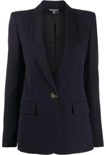 Balmain Embossed Buttons Single-Breasted Blazer - Azul
