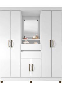 Guarda Roupa 6 Portas 2 Gavetas C/ Espelho Flex Branco/Lilás Araplac Móveis - Tricae