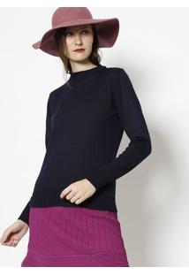 Blusa Lisa Em Tricã´- Azul Marinho- Ponto Aguiarponto Aguiar