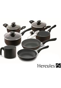 Conjunto De Panelas Preto Hercules Antiaderente 7 Peças