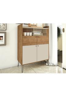 Cristaleira Pe De Ferro Style Buriti/Off-White - Líder Design