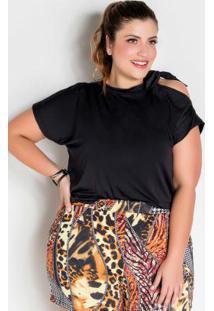 Blusa Preta Plus Size Com Amarração