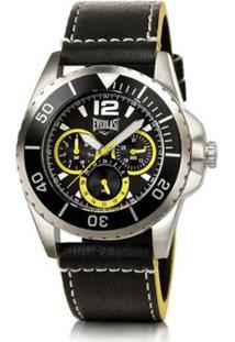 b7a674507b2 ... Relógio Pulso Masculino Everlast Pulseira Couro Cronógrafo - Masculino- Preto+Amarelo