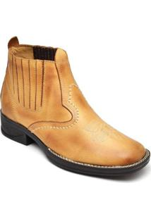 Bota Couro D&R Shoes Masculina - Masculino-Mostarda