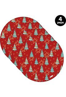Sousplat Mdecore Natal Arvores De Natal 32X32Cm Vermelho 4Pçs