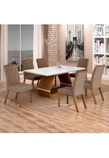 Conjunto De Mesa De Jantar Ii Com 6 Cadeira Esmeraldas Veludo Branco E Camurça