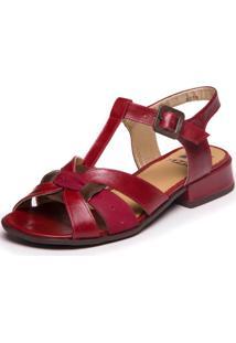 Sandalia Feminina Baixa Vermelha - Amora / Marsala/ Chocolate 7721