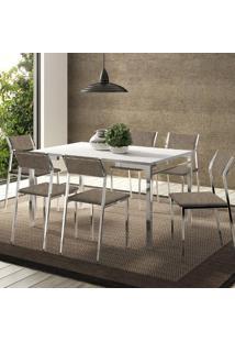 Mesa 1526 Branca Cromada Com 6 Cadeiras 1709 Camurça Conhaque Carraro