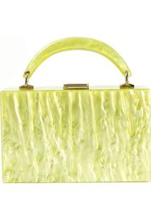 Bolsa De AcrãLico Isla Galerias Com Alã§A Marmorizada Cor Mellow Yellow - Amarelo - Feminino - Dafiti