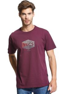 Camiseta Standard Vlcs Logotipia Malha Penteada Roxa