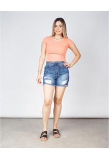Bermuda Jeans Besni Cintura Alta Destroyed Barra Desfiada Feminina - Feminino