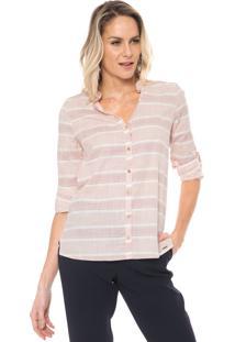 Camisa Marialícia Listrada Rosa/Branca