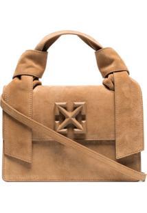 Off-White Brown Jitney 1.4 Suede Shoulder Bag - Marrom