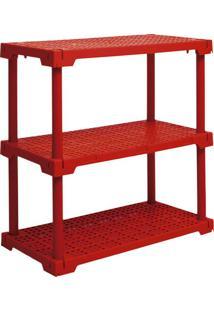 Estante Cube Com 3 Prateleiras Vermelho